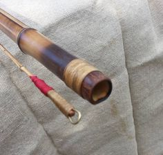 Primitive, jointed cane pole, 16 feet. Linen cord wrapped reinforcement. Brass wire eye wrapped in linen and cotton, by Todd Wehling.