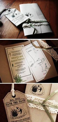 lovely invites - swallows, aloe, and recycled brown paper by brandi