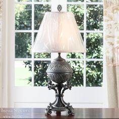 Antique Lighting | Antique Table Lamps | Antique Pewter Lamp | www.inessa.com
