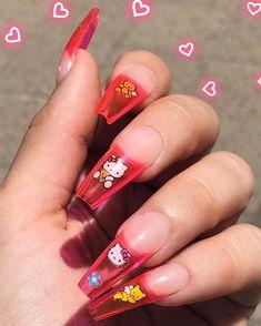 mmirandalaurenn - clear pink nail art w hello kitty mmirandalaurenn - klare rosa Nagelkunst w Summer Acrylic Nails, Best Acrylic Nails, Acrylic Nail Designs, Summer Nails, Cute Gel Nails, Funky Nails, Cat Nails, Aycrlic Nails, Nail Swag