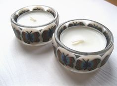2 Rainbow Butterfly Polymer Clay T-light Holders £6.00