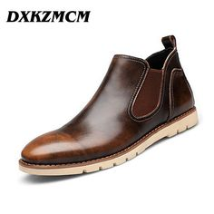 2016  Leather Men Boots, Brand Men Ankle Boots, Casual Genuine Leather Design Cowboy Boots, Men Shoes