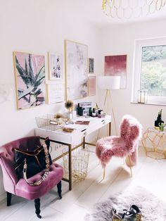 Pink + white girlie office decor