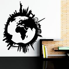 Large world map wall decal letters world map with by fabwalldecals world map wall decal world globe wall decal by fabwalldecals gumiabroncs Gallery