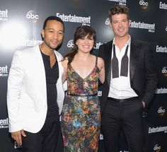 """John Legend, Kelly Clarkson, and Robin Thicke (""""Duets"""") attend the Entertainment Weekly and ABC Upfront VIP Party at Dream Downtown on May 15, 2012 in New York City."""