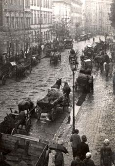 April 1941, One of the main streets in the Krakow Ghetto during a deportation