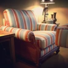 Coastal Styled Furniture Sales - Rattan Sided Accent Chair By Craftmaster. Coastal Furniture, Living Room Furniture, Chesterfield Chair, Armchair, Modern Coastal, Furniture Styles, Online Furniture, My Room, Side Chairs