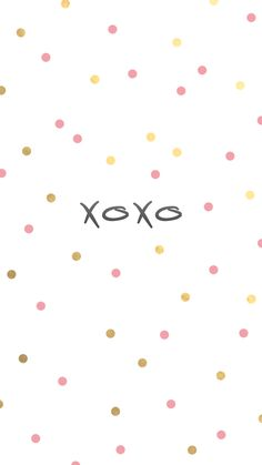 """xoxo"" gold and pink polka dot iPhone wallpaper"