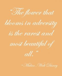 The flower that blooms in adversity. An amazing quote from one of my favorite movies =)