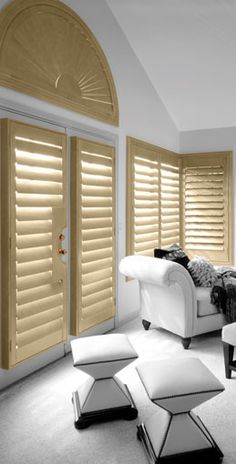 Normandy Shutters - Beautiful plantation shutters for the home. Shutter Blinds, Normandy, Blinds Sydney, Shutters, Curtains, Bed, Furniture, Beautiful, Home Decor
