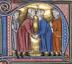 Guys kissing. Kiss... of peace? Vidal Mayor, Spain ca. 1290-1310 (LA, Getty, Ms. Ludwig XIV 6, fol. 230r)