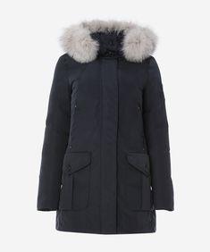 Slim-fit parka with fox fur border