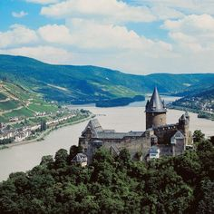 Castles line the shores of the Rhine.