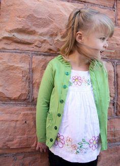 12 childrens clothing repurposing ideas - Cardigan to T-Shirt