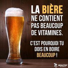 La bière ne contient pas #beaucoup de #vitamines c'est #pourquoi tu dois en #boire beaucoup !!! #blague #humour #blagues #marrant #lol #mdr Funny Quotes, Funny Memes, Jokes, Funny French, Surf, Very Funny, E Cards, Peace And Love, Decir No