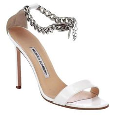 ​manolo Blahnik White Chaos Patent Leather Ankle-chain Sandals (3.755 DKK) ❤ liked on Polyvore featuring shoes, sandals, white patent leather sandals, patent sandals, patent leather sandals, patent leather shoes and patent shoes