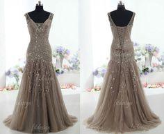 brown prom dress long prom dress elegant prom dress by fitdesign, $199.00