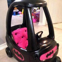 Batmobile for kids from Cozy Coupe Cute Kids, Cute Babies, Baby Kids, Little Doll, Little Girls, Little Girl Toys, Pink Kids, Heros Comics, Nananana Batman