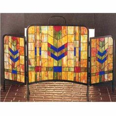 "Check out this product   TIFFANY ARTS AND CRAFTS FIREPLACE SCREEN Inspired by Frank Lloyd Wright, this geometrically designed fireplace screen will add color and decoration to any fireplace not in use. Note: Fireplace screens are for decorative use only-not intended or rated for high temperature use. -Overall width 48"", Middle panel 24"" W by 22""H. - Outer panel measures 12""W x 19""H. retail price:$1,025.00 you save:$230.00 (22%) Price:$795.00 http://wkup.co/cash_back/ODk4OTc0NDY5/MTE3NDcxMg=="