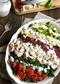 Skinny Cobb Salad - All the taste of your favorite restaurant version, but it cuts over half the fat and calories! Super quick and easy too! | Foodfaithfitness.com | #recipe