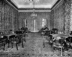 In about 1920 [Fortuny] decorated the gaming rooms of the Hotel Excelsior on the Lido of Venice. He did not paper the walls, but hung materials like enormous curtains from rails placed just below ceiling level. Their folds gave a feeling of movement and warmth to the rooms, as well as producing a play of light that heightened their colour.