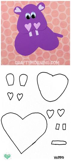 Free Printable Templates of Heart Shape Animals - Hippo craft for kids