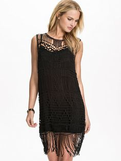 Crochet Dress With Tassel Trim - Kiss The Sky - Sort - Kjoler - Tøj - Kvinde - Nelly.com