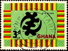 "Ghana.  ""GOD'S OMNIPOTENCE SYMBOL"".  Scott  53 A16a, Issued 1959 Oct 5,  Wmk325. 3d. /ldb."