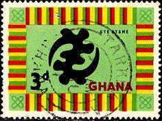 "Ghana.  ""GOD'S OMNIPOTENCE SYMBOL"".  Scott  53 A16a, Issued 1959 Oct 5,  Wmk325. 3d. /ldb."