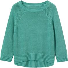 LINEN KNIT PULLOVER ❤ liked on Polyvore featuring tops, sweaters, knit pullover sweater, 3/4 sleeve sweaters, raglan sweater, blue top and blue sweater