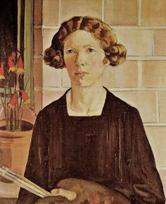 """Self Portrait"" (1930) Margaret Preston.  Margaret Preston (1875-1963) was an Australian modernist artist with an interest in the development of a national style for Australian art. She sought to blend the motifs and coloration she observed in the art produced by indigenous Aboriginal Australians, with a modern aesthetic with influences of print-making and cubism."