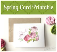 Free Printable Spring Note Card :: Smile its spring! Beautiful hand drawn peonies.