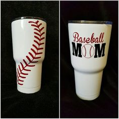 The brand will be RTIC with a silver bottom  I can add Baseball Mom, Dad, Players name and # or whatever else you would like. If you would like a different color than red vinyl please message to make sure I have the color you are looking for.