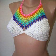 Image result for rainbow crochet crop top