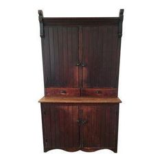 A beautiful rustic antique country cupboard. The cabinet was well cared for and is in great shape for its age. One of the vertical slats in the back of the bottom piece was removed and a small fan was installed to cool electronics.
