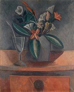 Pablo Picasso, Flowers in a Grey Jar, Cubism Kunst Picasso, Art Picasso, Picasso Paintings, Henri Matisse, Henri Rousseau, Paul Gauguin, Picasso Flowers, Art Flowers, Picasso Still Life