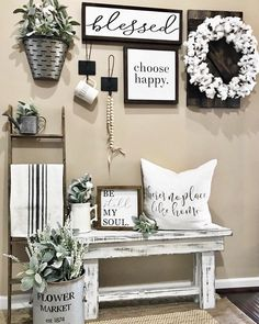 Looking for for ideas for farmhouse living room? Check this out for perfect farmhouse living room ideas. This specific farmhouse living room ideas will look completely amazing. Farmhouse Wall Decor, Farmhouse Style Decorating, Country Decor, Modern Farmhouse, Farmhouse Ideas, Rustic House Decor, Vintage Farmhouse, Farmhouse Design, Farmhouse Bench