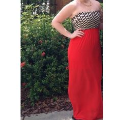 Maxi dress Strapless maxi dress. Stretchy top with black and white zig zag print. Red flowy skirt. Size small. Dresses Maxi