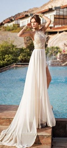 75% OFF! Be the most beautiful lady of the day with this Princess Jewel Court Train Chiffon Wedding Dress! More at http://www.cutedresses.co/product/princess-jewel-court-train-chiffon-wedding-dress/