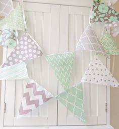 VAT Free Sewing Make Your Own Bunting Kit 12 Flags 3m String Blue Floral New