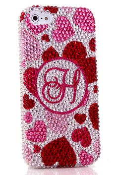 Pink Hearts Personalized Monogram Design iPhone 5 5c 5s bling case handcrafted protective phone accessories
