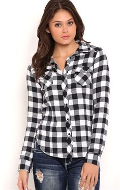 Deb Shops Long Sleeve Buffalo Plaid Flannel Button Down Top with Pockets $24.00
