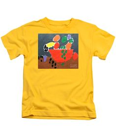 Patrick Francis Designer Kids Yellow T-Shirt featuring the painting Bowl Of Fruit by Patrick Francis