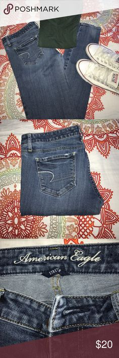 American Eagle Skinny Jeans Low rise. Size 6 long. Well loved but in good condition. It says stretch but compared to the Jeans they sell now it's less stretch than I was expecting American Eagle Outfitters Jeans Skinny