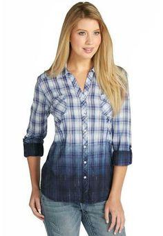 Cato Fashions Dip Dye Metallic Plaid Shirt - Plus #CatoFashions
