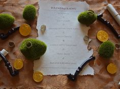 Hobbit Party menu with gold chocolate coins & licorice pipes