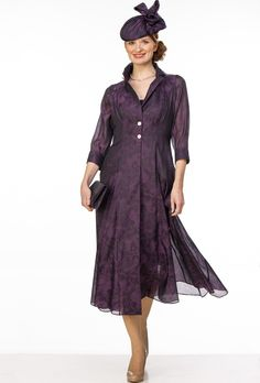 Purple organza coat over short fitted dress