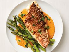 Grilled Snapper and Asparagus with Red Pepper Sauce by Food Network Kitchen Paprika Sauce, Food Network Recipes, Cooking Recipes, Healthy Recipes, Grilling Recipes, Cooking Tips, Fish Recipes, Seafood Recipes, Tilapia Recipes