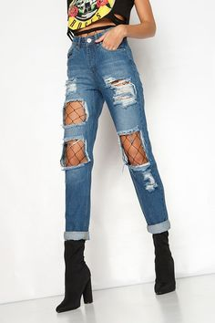 Damsen Denim Ripped Mom Jeans
