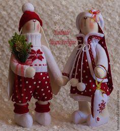Купить Зайцы новогодние - зайцы, зайцы тильда, новогодние подарки, подарок, ручная работа